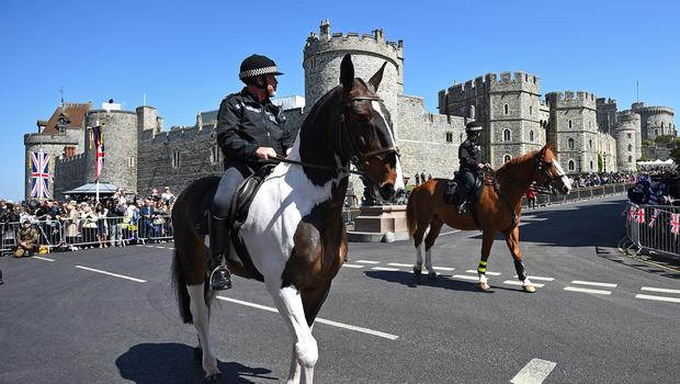 A massive security operation is under way in Windsor for the royal wedding (Kirsty O'Connor/ PA)
