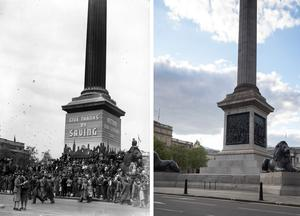 Then and now – scenes in Trafalgar Square (PA)