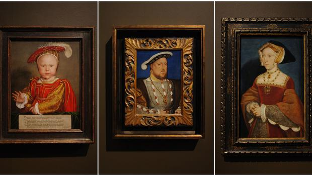 A composite of three paintings by Hans Holbein, of Henry VIII's sole male heir Edward, Prince of Wales; Henry VIII; and Queen Jane Seymour (PA)