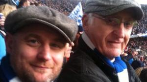 Neil Hames with his father Walter Hames pictured at Wembley in 2011, watching Birmingham City FC play Arsenal in the League Cup Final (Neil Hames/PA)