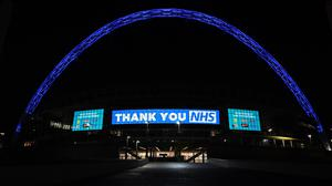 Wembley Arch is illuminated in blue to show its appreciation to the NHS amid the coronavirus outbreak (Kirsty O'Connor/PA)