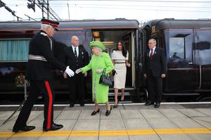The Queen and Meghan arrive by Royal Train at Runcorn Station in June 2018 (Peter Byrne/PA)