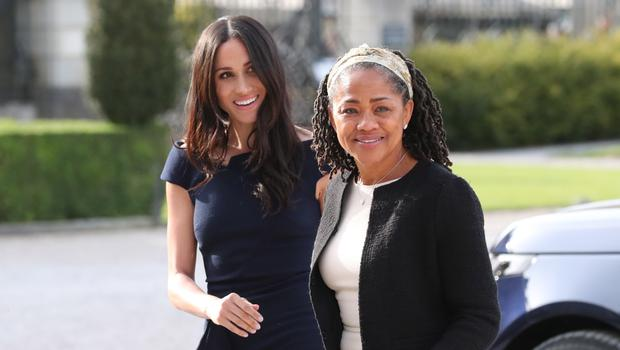 Meghan Markle and her mother, Doria Ragland, arriving at Cliveden House Hotel. Steve Parsons/PA Wire