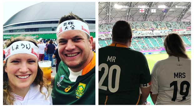 Rosie and Ken Marshall went to the Rugby World Cup for their honeymoon (Ken Marshall/PA)