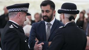 Police Scotland Chief Constable Iain Livingstone (left) talks with Justice Secretary Humza Yousaf (Andrew Milligan/PA)