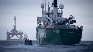 Greenpeace's Arctic Sunrise followed the rig in an attempt to prevent it from reaching the Vorlich field in the North Sea (Greenpeace/PA)