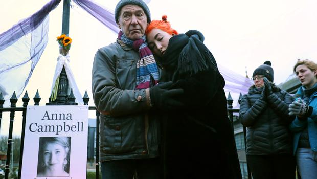 Dirk and Rose Campbell, father and sister of Anna Campbell at a vigil in Lewes (Gareth Fuller/PA)