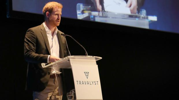 The Duke of Sussex speaking during a sustainable tourism summit (Andrew Milligan/PA)