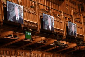 SNP Westminster leader Ian Blackford speaking via videolink during Prime Minister's Questions in the House of Commons (UK Parliament/Jessica Taylor/PA)