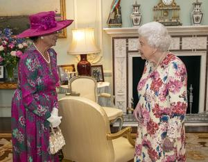 The Queen with the governor-general of the Commonwealth of the Bahamas, Dame Marguerite Pindling (Steve Parsons/PA)