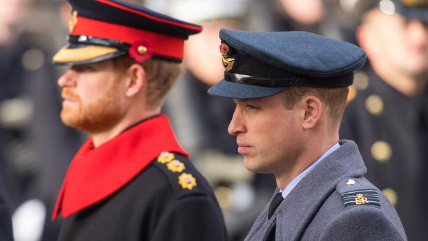 Harry in military dress with the Duke of Cambridge at a Remembrance Sunday Service at the Cenotaph (Dominic Lipinski/PA)
