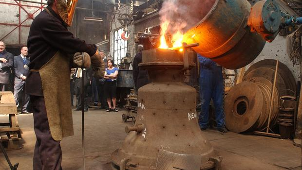 A bell being cast at the foundry in 2002 (Kirsty Wigglesworth/PA)