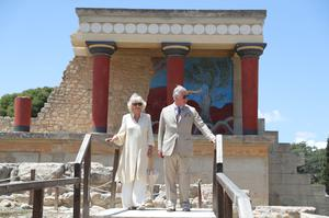 Charles and Camilla visited the Knossos archaeological site on Crete during a tour of Greece in 2018 (Andrew Matthews/PA)