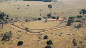 Aerial image of one of the structures found by University of Exeter researchers (University of Exeter/PA)
