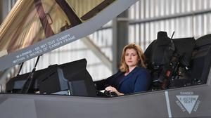 Defence Secretary Penny Mordaunt sits in the cockpit of a F-35 Lightning jet at RAF Akrotiri in Cyprus (Jacob King/PA)