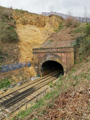 The area where the small cave was discovered (Network Rail/PA)