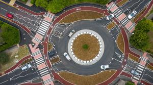 The UK's first Dutch-style roundabout in Cambridge, which prioritises cyclists and pedestrians over motorists (Joe Giddens/ PA)