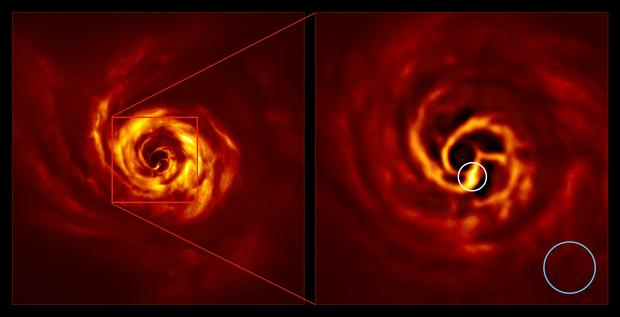 The images of the AB Aurigae system showing the disc around it. The image on the right is a zoomed-in version of the area indicated by a red square on the image on the left. It shows the inner region of the disc, including the very-bright-yellow 'twist' (circled in white) that scientists believe marks the spot where a planet is forming. This twist lies at about the same distance from the AB Aurigae star as Neptune from the Sun. The blue circle represents the size of the orbit of Neptune. The images were obtained with the SPHERE instrument on ESO's Very Large Telescope in polarised light (Boccaletti et al/ESO)