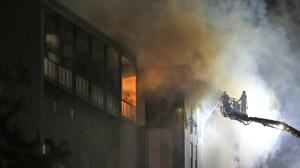 Firefighters at the scene of the blaze in The Cube building in Bolton (Peter Byrne/PA)