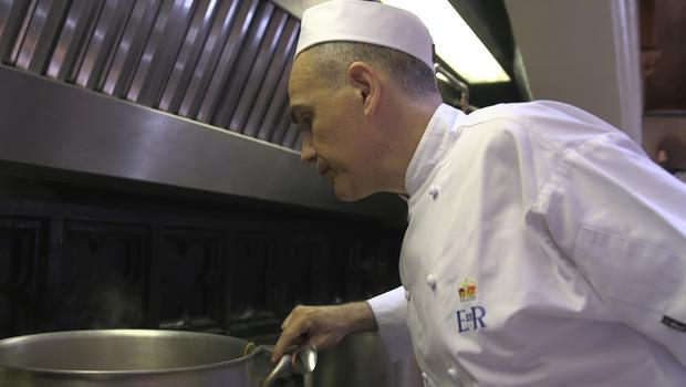 Royal Chef Mark Flanagan at work in the kitchens of Windsor Castle. (Renee Bailey/PA)