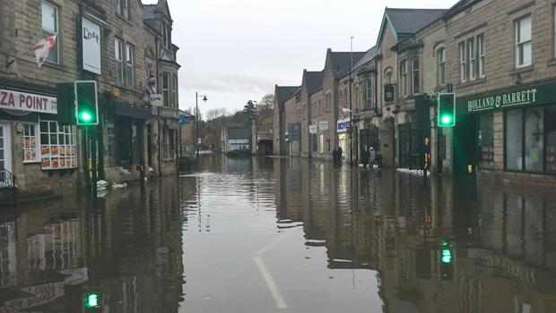 Some streets near to the River Derwent were underwater after a month's worth of rainfall in a day (Josh Payne/PA)
