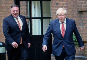 Prime Minister Boris Johnson (right) welcomes US Secretary of State Mike Pompeo to Downing Street on Tuesday (Hannah McKay/PA)