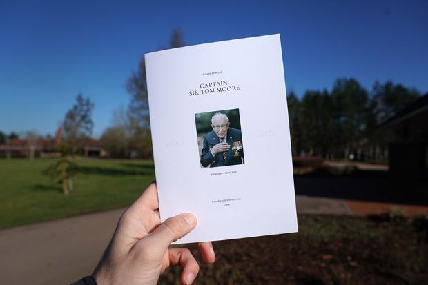 The order of service for the funeral of Captain Sir Tom Moore at Bedford Crematorium (Joe Giddens/PA)