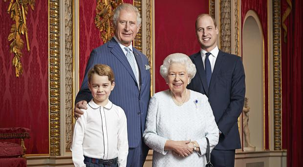 A new portrait of the Queen, Prince of Wales, Duke of Cambridge and Prince George has been released (Ranald Mackechnie/PA)