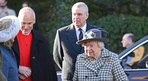 The Queen and Duke of York arrive at St Mary the Virgin church in Hillington, Norfolk (Joe Giddens/PA)