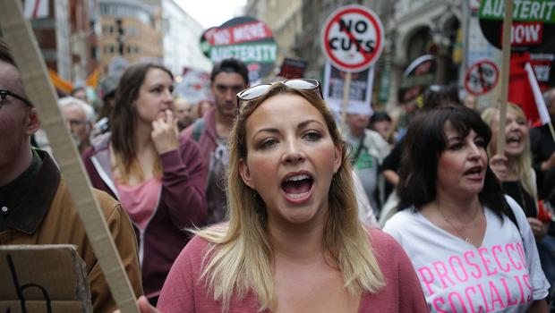 Charlotte Church attending the End Austerity Now rally in London