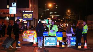 Emergency services at Manchester Arena after the suicide bombing (Peter Byrne/PA)