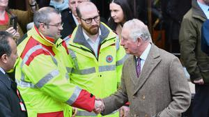 The Prince of Wales meets first responders during a visit to Pontypridd (Jacob King/PA)