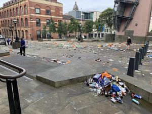 Litter in Millennium Square in Leeds, where thousands gathered to celebrate Leeds United's achievement (Liam Sanders/PA)