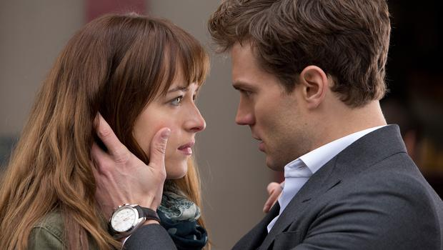 Dakota Johnson as Anastasia Steele and Jamie Dornan as Christian Grey in the film