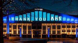 The SSE Arena in Wembley was lit up in a gesture of thanks (Amanda Rose/PA)