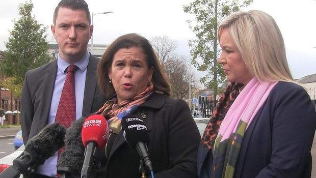 Mary Lou McDonald, centre, alongside John Finucane and Michelle O'Neill, defended her party's decision (David Young/PA)