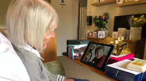 Joan Blacker, of Hindhead, Surrey, celebrated her 100th birthday with family via a video call during the coronavirus lockdown (Huntington and Langham Estate/PA)