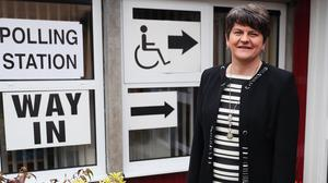 Arlene Foster, Leader of the Democratic Unionist Party, arrives at Brookeborough Primary School, Co Fermanagh, to cast her vote in the 2017 General Election (Brian Lawless/PA)