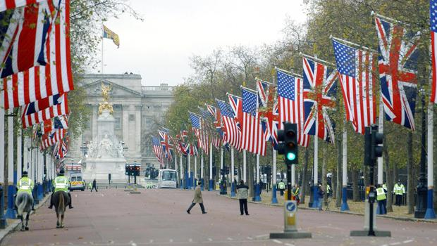 US and UK flags on The Mall (Fiona Hanson/PA)