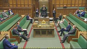 …50 days ago it was a very different looking Prime Minister's Questions, with Dominic Raab standing in for Boris Johnson after he became seriously ill with Covid-19 (House of Commons/PA)