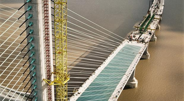 The Second Severn Crossing under construction (Historic England Archive/John Laing Photographic Collection/PA)