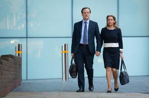 Former Conservative MP Charlie Elphicke, with MP for Dover Natalie Elphicke, arriving at Southwark Crown Court on Wednesday (Dominic Lipinski/PA)