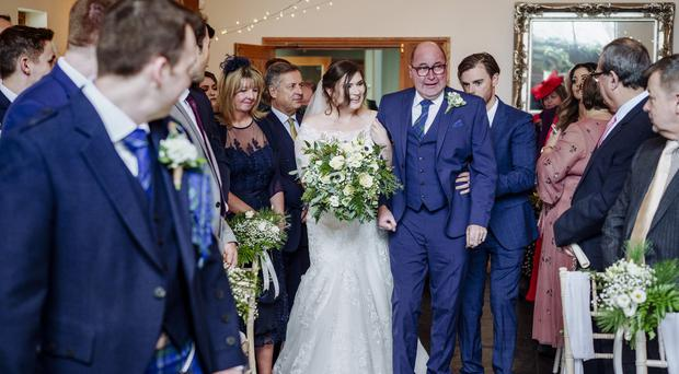 Catherine Townsend was walked down the aisle by her father Peter James 10 days after he was paralysed by a seizure (Martin Ellard)