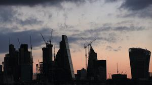 A view of the City of London skyline before sunset. The London markets moved higher on Wednesday (Yui Mok/PA)