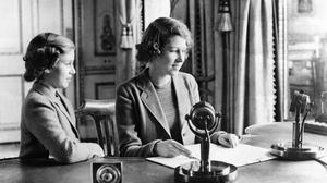 Princess Elizabeth and Princess Margaret after their broadcast on Children's Hour in 1940 (PA)