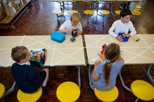 Children eat lunch in segregated positions at Kempsey Primary School in Worcester (Jacob King/PA)
