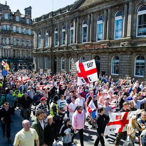 People taking part in the English Defence League march in Newcastle