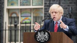Prime Minister Boris Johnson speaking outside 10 Downing Street as he resumed work on Monday (Stefan Rousseau/PA)