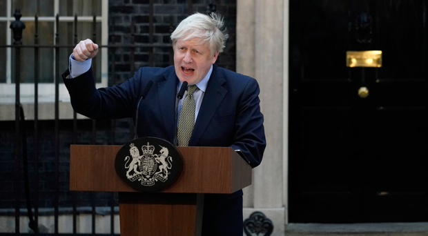 Boris Johnson delivers a speech outside Downing Street yesterday