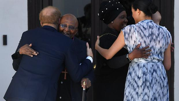 Mrs Tutu was also there to meet the royal couple (Toby Melville/PA)